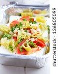 feta cheese in baking pan for... | Shutterstock . vector #136805099