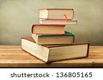 vintage old books on wooden... | Shutterstock . vector #136805165