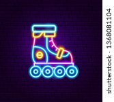 roller skating neon label.... | Shutterstock .eps vector #1368081104