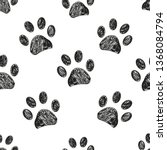 Stock vector seamless pattern for textile design black and white paw print pattern background 1368084794