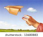 hand throwing a paper plane... | Shutterstock . vector #13680883