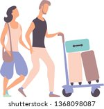 boy pushing luggage cart and... | Shutterstock .eps vector #1368098087