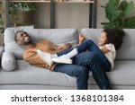 laughing black funny father or... | Shutterstock . vector #1368101384