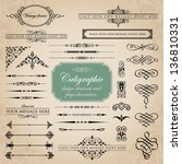 calligraphic design elements... | Shutterstock .eps vector #136810331