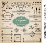 Calligraphic design elements and page decoration set 5 | Shutterstock vector #136811075