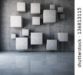 abstract concrete cubes in the... | Shutterstock . vector #136813115