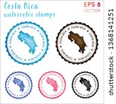 costa rica stamp. watercolor... | Shutterstock .eps vector #1368141251