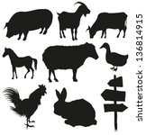 set of farm animals isolated on ...   Shutterstock .eps vector #136814915