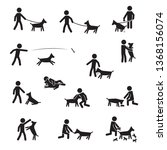 men with large breeds dogs icon ... | Shutterstock .eps vector #1368156074