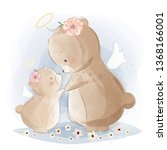 angelic mommy and baby bear | Shutterstock .eps vector #1368166001