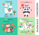 mother's day cute animals set... | Shutterstock .eps vector #1368180404