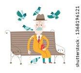 an old man is feeding doves.... | Shutterstock .eps vector #1368196121