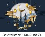 ramadan kareem concept banner ... | Shutterstock .eps vector #1368215591