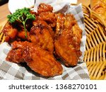 crispy chicken wings with bbq...   Shutterstock . vector #1368270101