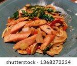 spaghetti with drunken sauce...   Shutterstock . vector #1368272234
