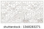 set of contour illustrations of ... | Shutterstock .eps vector #1368283271