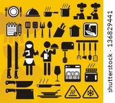restaurant icons compilation   Shutterstock .eps vector #136829441