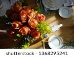 a bouquet of coral colored... | Shutterstock . vector #1368295241