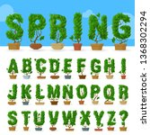 green leaf vector abc typeface... | Shutterstock .eps vector #1368302294