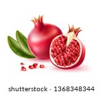 realistic pomegranate whole ...   Shutterstock .eps vector #1368348344