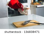 Stock photo hungry cat 136838471