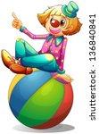 da solo,divertimenti,sfondo,equilibrio,palla,blu,carnevale,cartone animato,cerchio,circo,pagliaccio,colorato,comico,disegno,intrattenitore