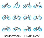 bicycle type icons in duo tone... | Shutterstock .eps vector #136841699