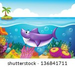 Illustration of a smiling shark under the sea with corals