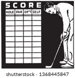 golf score card   retro ad art... | Shutterstock .eps vector #1368445847