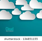 abstract paper clouds... | Shutterstock .eps vector #136851155