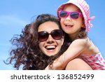 little girl and her mother have ... | Shutterstock . vector #136852499