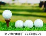 golf balls on grass outdoor... | Shutterstock . vector #136855109