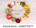 inscription healthy food and... | Shutterstock . vector #1368579677