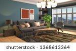 interior of the living room. 3d ... | Shutterstock . vector #1368613364