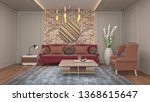 interior of the living room. 3d ... | Shutterstock . vector #1368615647