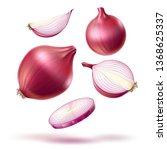 realistic red onion whole bulb  ... | Shutterstock .eps vector #1368625337