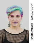 Young Beautiful Woman With Dyed ...