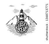 lost in the ocean.... | Shutterstock .eps vector #1368713771