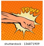 Pop art vector illustration.Fist hitting, fist punching
