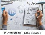 graphic designer drawing sketch ... | Shutterstock . vector #1368726017