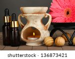 aromatherapy lamp on grey... | Shutterstock . vector #136873421