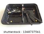 black plastic food container...   Shutterstock . vector #1368737561
