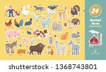 animal farm characters set with ... | Shutterstock .eps vector #1368743801