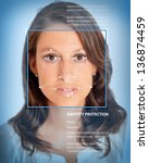 female face with lines from a... | Shutterstock . vector #136874459