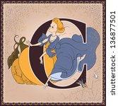vintage children book alphabet... | Shutterstock .eps vector #136877501