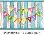happy birthday wooden... | Shutterstock .eps vector #1368834074