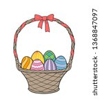 wicker basket with bow full of... | Shutterstock .eps vector #1368847097
