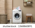 modern washing machine near... | Shutterstock . vector #1368860891