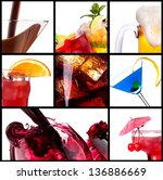 collage with alcohol cocktails  ... | Shutterstock . vector #136886669