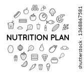 nutrition plan icons with sign... | Shutterstock .eps vector #1368867581